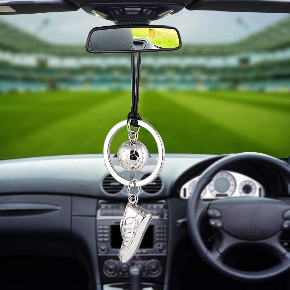 Car Hanging Ornaments Car Pendant Automobile Decoration Charm Silver Football Soccer Shoes Auto Interior Rear View Mirror Hanging Ornaments 27Cm Length