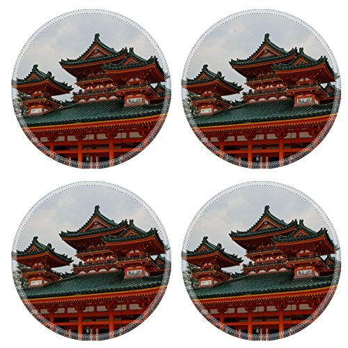 Liili Natural Rubber Round Coasters IMAGE ID: 28458790 Heian Shrine in Kyoto - Heian Shrine In Kyoto