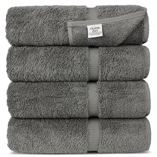 Chakir Turkish Linens Turkish Cotton Luxury Hotel & Spa Bath Towel, Bath Towel – Set of 4, Gray