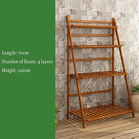 YAHAO Escalera para Flores De Bambú Estantería Decorativa para Macetas Soporte para Plantas Exterior Interior Jardín con 3/4 Niveles,4layers-70cm: Amazon.es: Hogar