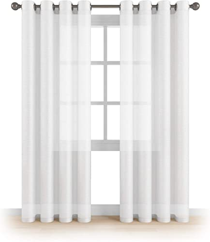 MEMIAS Window Sheer Elegant Voile Curtains with Grommets for All Rooms Decoration, 2 Panels, Each Panel, 54 W x 120 L, Brilliant White