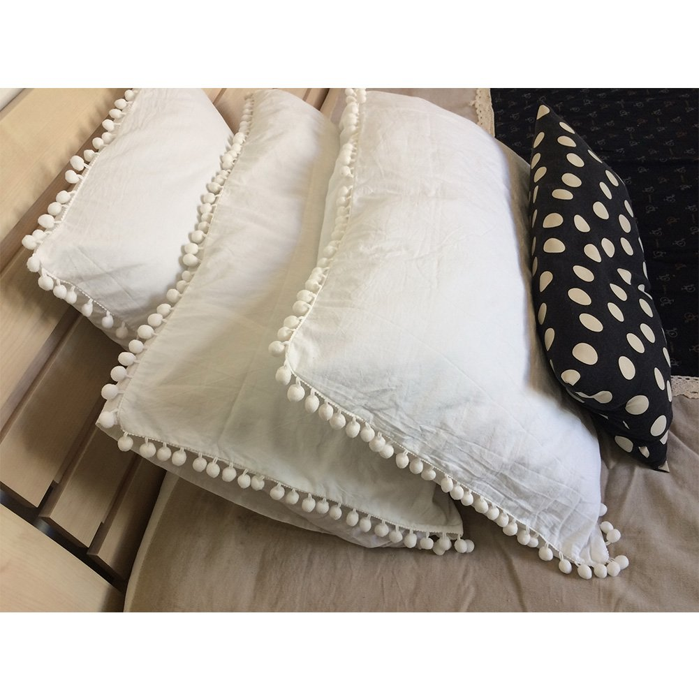 Pom Pom Fringe Pillowcases, Washed Cotton Pillow Sham Fringe Rolls
