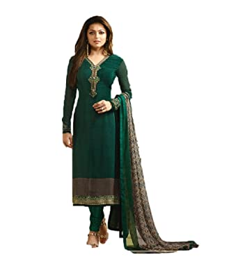 6560b01c6c Green Royal Crape Embroidered Indian Pakistani Churidar Salwar Suit (14).  Roll over image to zoom in. Royal Heaven