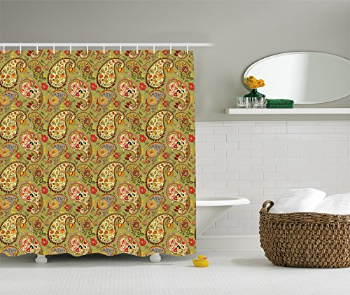 Paisley Decor Shower Curtain Set By Ambesonne, Eastern Oriental Persian Textile Pattern, Bathroom Accessories, 69W X 70L Inches