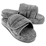 Women's Cozy Memory Foam Soft Premium 100% Turkish Terry Cotton Cloth Open Toe Spa Slide House Indoor Slippers (Large/9-10 B(M) US, Gray)