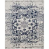 oversized area rugs Safavieh Madison Collection MAD603D Cream and Navy Distressed Medallion Area Rug (8' x 10')