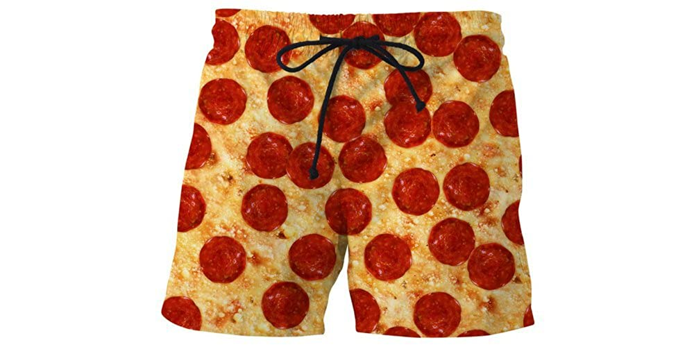 RageOn Pizza Premium All Over Print Swim Trunks