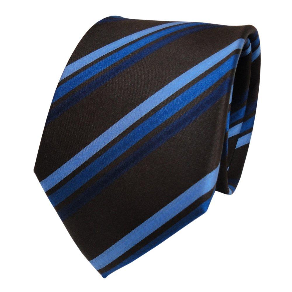 TigerTie Designer Seidenkrawatte blau braun schwarzbraun gestreift Krawatte