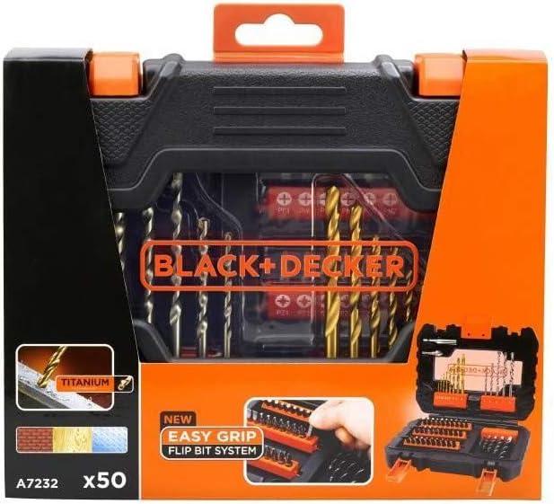 0 W Black+Decker A7232-XJ A7232-XJ-Juego atornillar y taladrar 0 V Set de 50 Piezas
