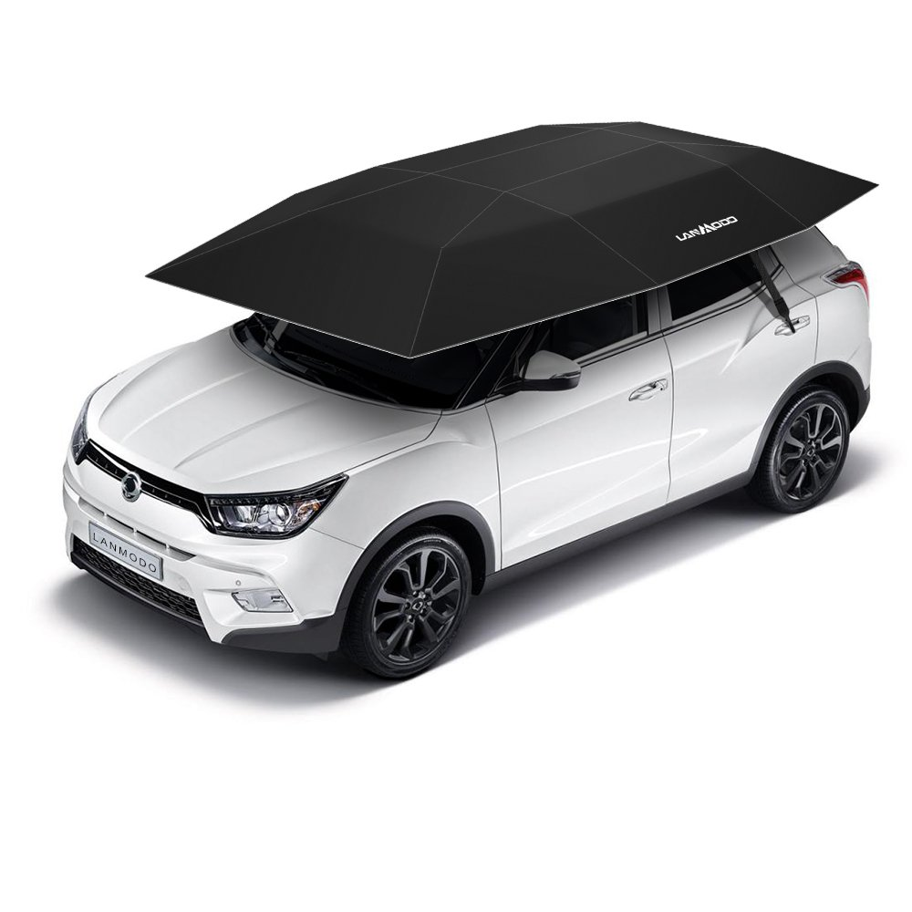 LANMODO Car Tent, Automatic Car Umbrella with Anti-UV, Water-Resistant, Proof Wind, Snow, Storm, Falling Objects Features, Fit to All Cars (BLACK/SILVER/BLUE)