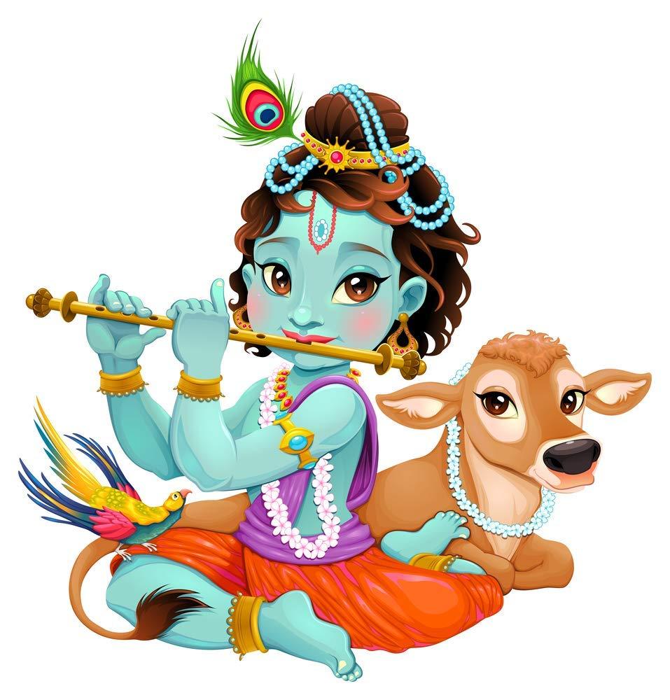 5 Ace Cute God Krishna Wall Decor Poster (Paper; 12x18 inch; Multicolour):  Amazon.in: Home & Kitchen