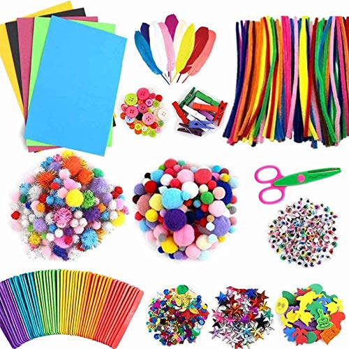 Koogel 1100 Pcs Preschool Craft Supply Kit, Craft Box for Kids Art and Craft Supplies for Kids Art Bucket for Children Crafts for Children of Arts and Crafts in Parent Child Activity Classroom