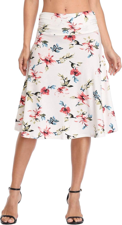 Urban CoCo Womens Ruched Waist Stretchy Flared Yoga Skirt