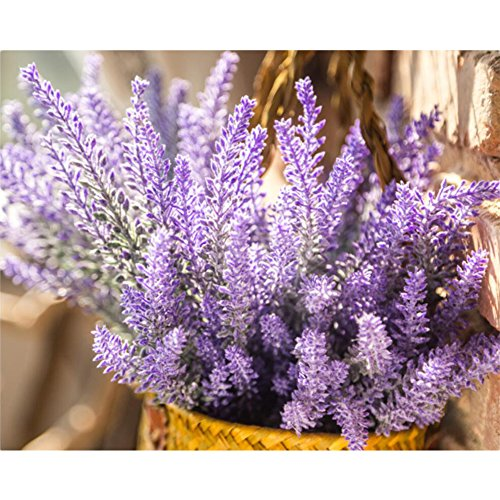 Artificial Lavender Bouquet Fake Lavender Bunch Purple Lavender Flowers Wedding Decor Decorations Faux Lavender Bundles (8 Bundles)