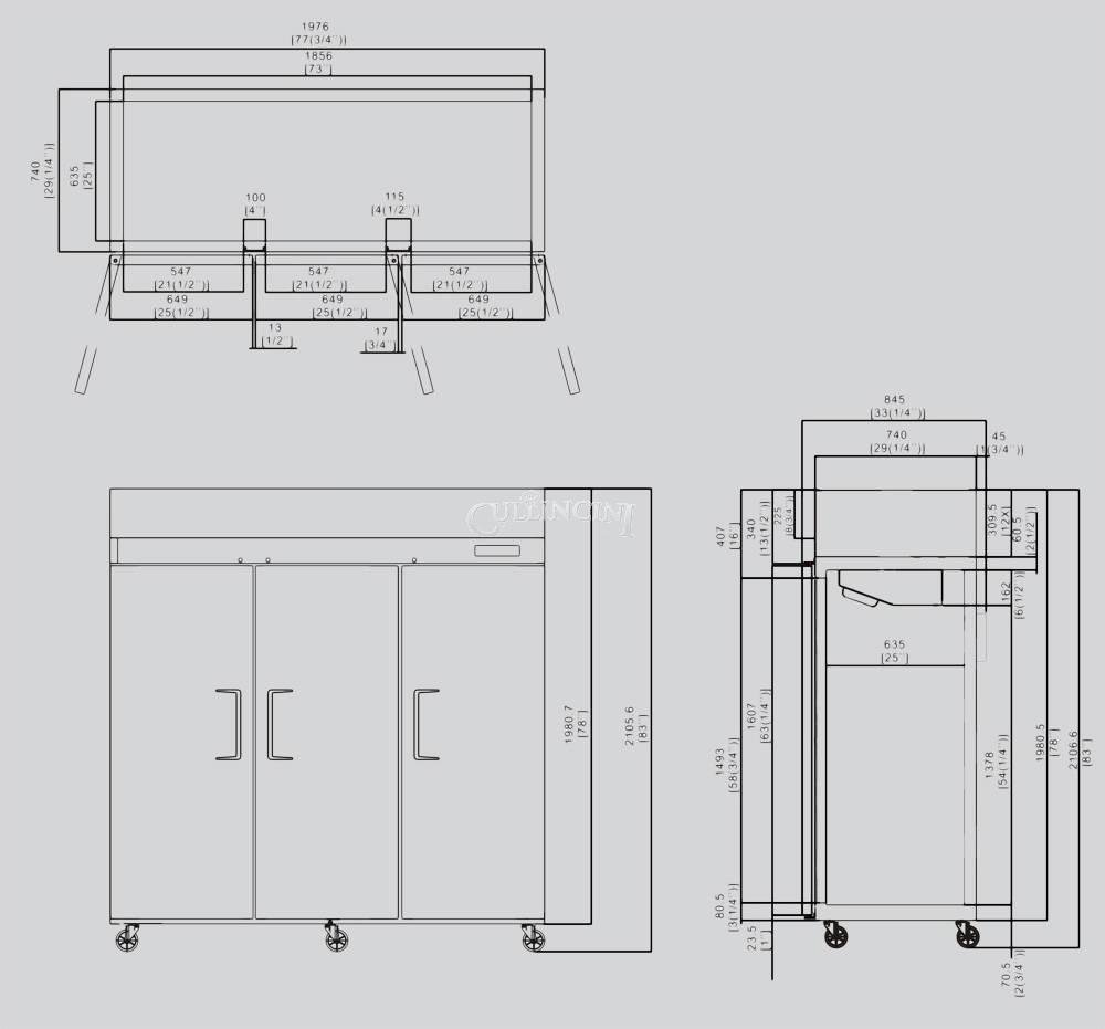 78 Triple 3 Door Side By Stainless Steel Reach In Electro Freeze Wiring Diagram Commercial Refrigerator Mbf 8006 72 Cubic Feet Appliances