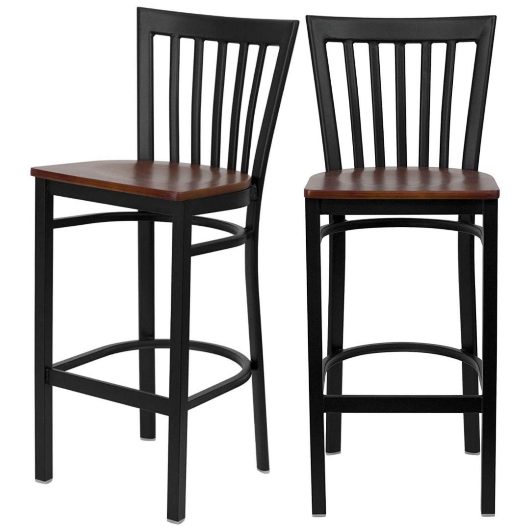 Modern Style Dining Bar Stools Pub Lounge Diner Restaurant Commercial Seats Vertical School House Back Design Black Powder Coated Frame Finish Home Office Furniture - Set of 2 Cherry Wood Seat #2232