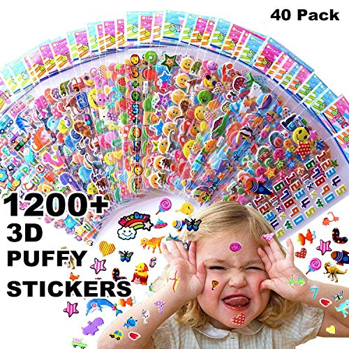 Kids stickers 1200+, 40 different Sheets, 3D Puffy Stickers for Kids, Bulk stickers for Girl Boy Birthday Gift, Scrapbooking, Teachers, Toddlers, Including Animals, Stars, Fishes, Hearts and -