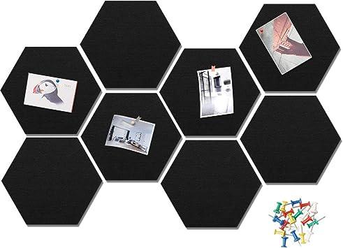 Selbstklebende DIY Memoboard mit 16 St/ück Pushpins K/üche Bunte Bulletin Board Wanddekoration f/ür B/üro HyFanStr 8 St/ück Filz Sechseckige Pinnwand