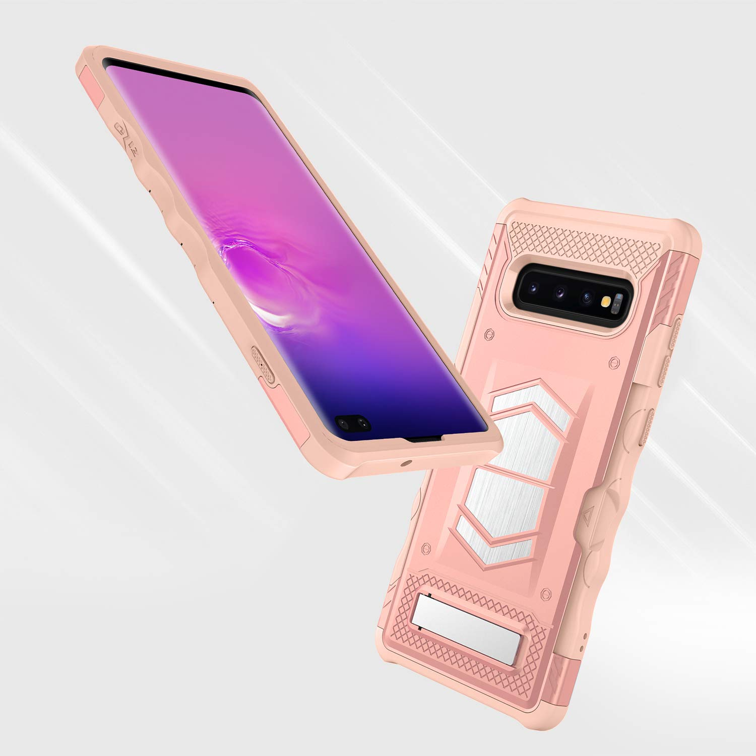 Zizo Electro Series Compatible with Samsung Galaxy S10 Plus with Card Slot and Air Vent Magnetic Holder Rose Gold Peach