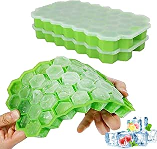 Ouddy 2 Pack Silicone Molds with Removable Lid Ice Cube Trays, One Size, z-green