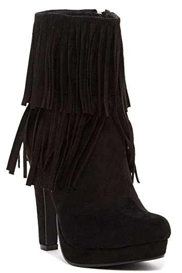 Sopazino Womens Fashion Faux Fur-Lined Fringe Stiletto Booties