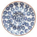 Euro Ceramica Azul Tile Collection 14'' Terra Cotta Chip & Dip Party Platter, Floral Hand-Painted Design, Blue & White