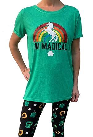888da7517 Women's St. Patrick's Day Tunic Longer Length Green T-Shirt - Magical  Rainbow Unicorn