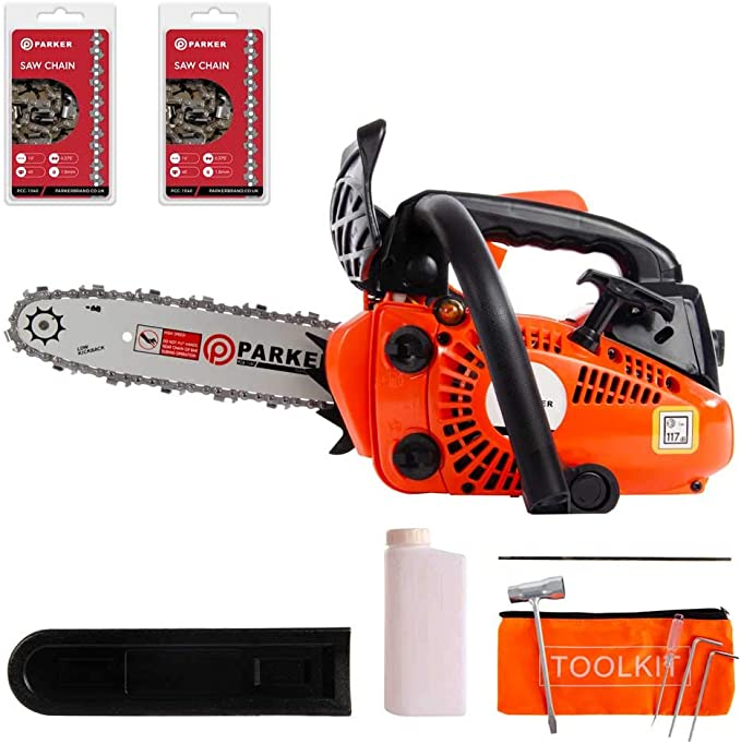 """ParkerBrand 26cc 10"""" Petrol Top Handle Topping Chainsaw - Free Bar Cover & More"""