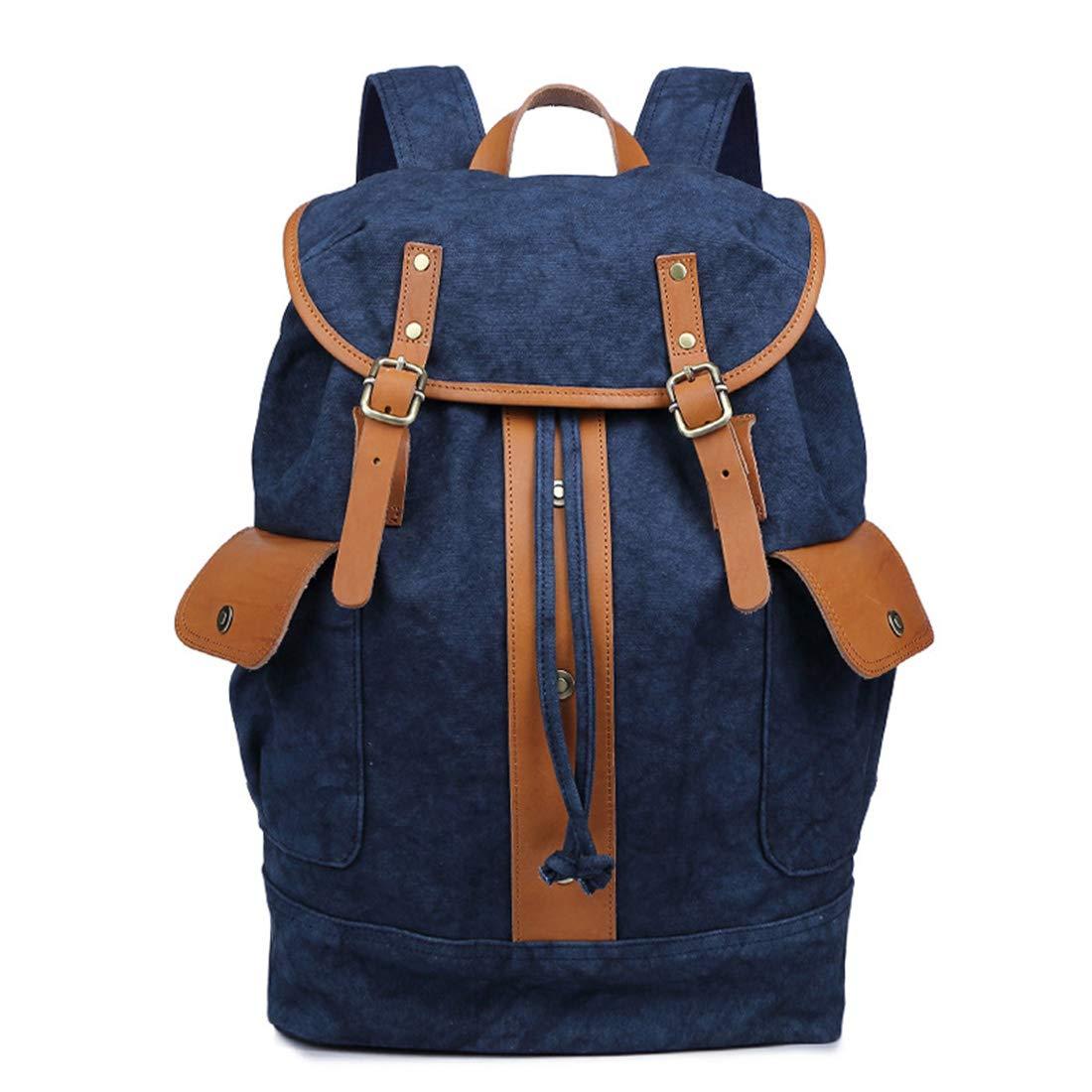 CAFUTY メンズ/レディースバックパックデイパック防水ヴィンテージ巾着キャンバス旅行学生アウトドアショッピング (Color : ブルー)  ブルー B07PT9VXLH