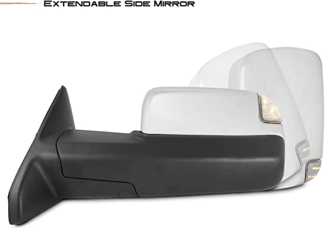 No Signal No Heat Galaxy Auto Telescopic Towing Mirrors for 1999-2007 Ford F250//F350//F450 Black Pair Set Manual