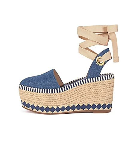 bc51a38dcf4e75 Tory Burch Dandy 85MM Espadrille Wedge Leather Sandals (9.5