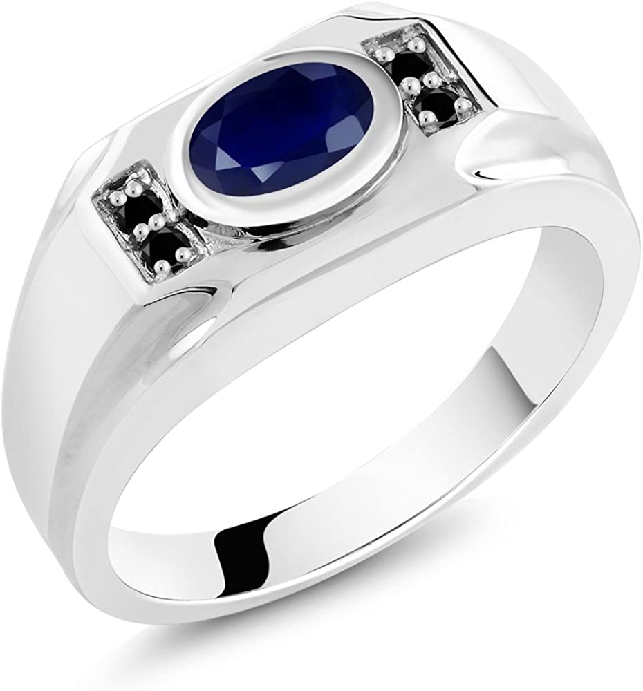 925 Sterling Silver Natural Certified 11 Ct Blue Sapphire Valentine Mens Ring