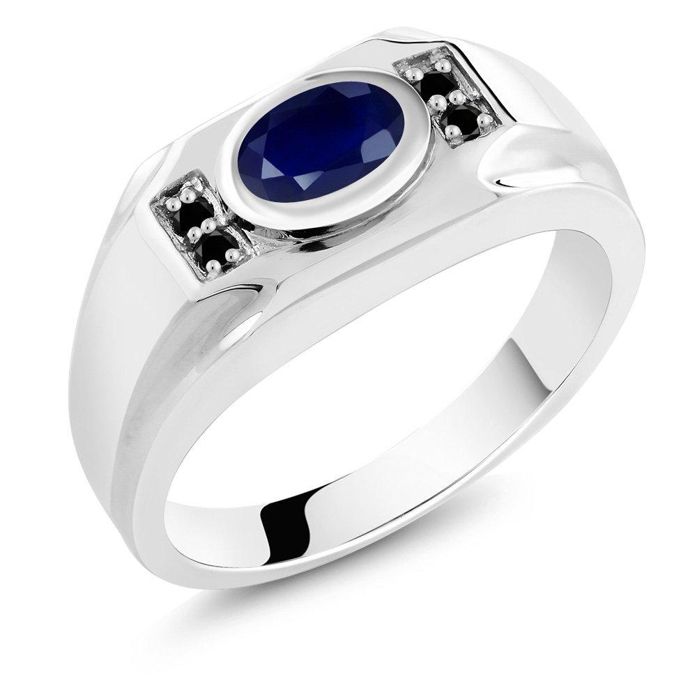 1.92 Ct Oval Blue Sapphire Black Diamond 925 Sterling Silver Men's Ring
