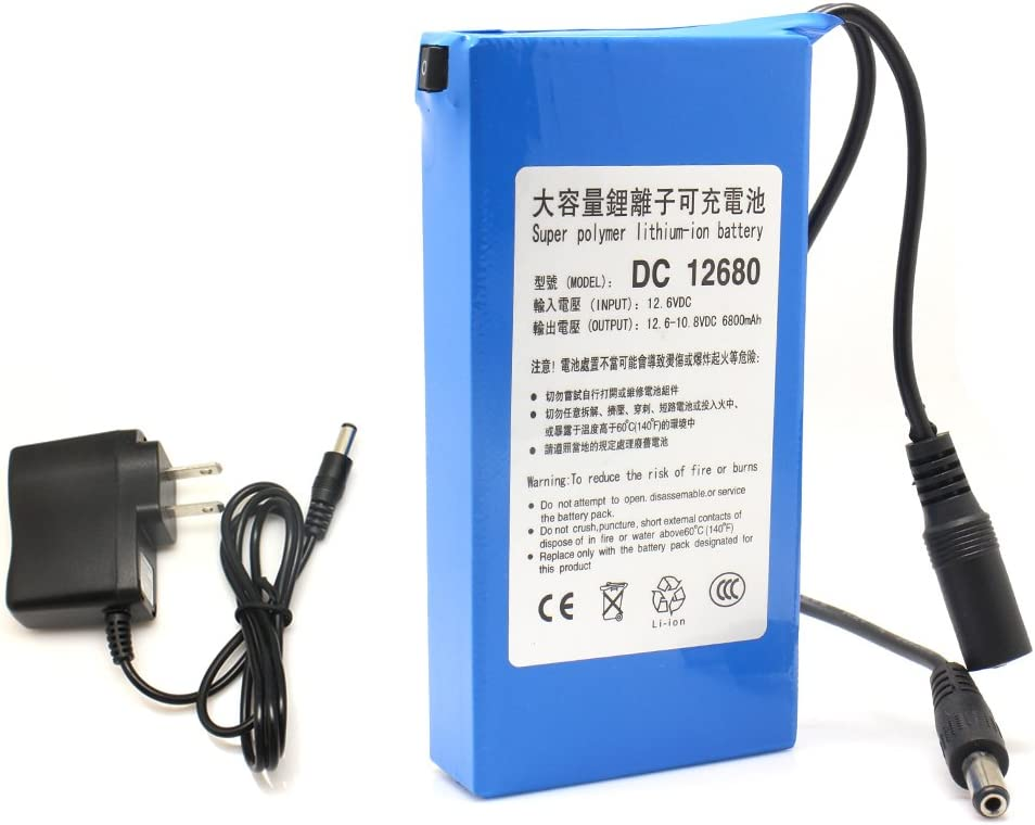 Sourcingbay 6800mAh DC 12V Super Rechargeable Emergency Power Polymer Lith-ion Battery Pack for CCTV Camera US EU Plug Blue