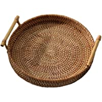 Round Rattan Storage Tray, Hand-Woven Wicker Basket with Handle, Baskets for Bread Fruit Food Breakfast Display (22x7cm)