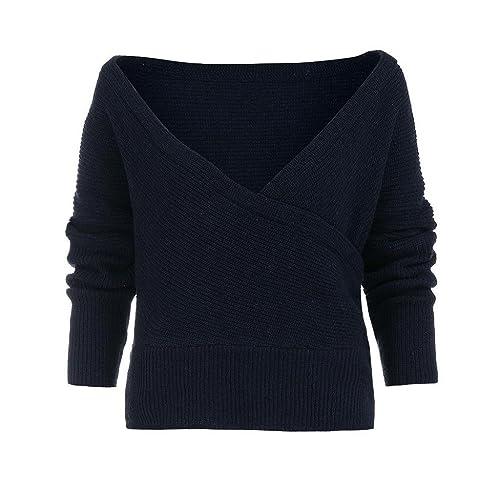 Suéter Blusa de Manga larga, Holacha Camisa Pullovers de Cuello V Tops Solido Casual Moda para Mujeres
