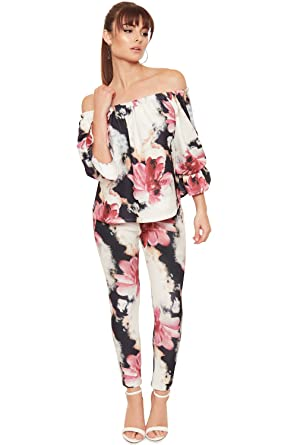 986da02cf4d32f WearAll Womens Floral Gypsy Off Shoulder Top Trouser Co-Ord Suit Set Ladies Frill  Sleeve - Cream - 12-14  Amazon.co.uk  Clothing
