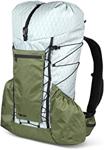 DROP 40L Ultralight Backpack by Dan Durston — Waterproof, Removable Internal Frame, Hipbelt Pockets, Hydration Ready, Roll-Top, for Camping, Hiking, and Backpacking (M/L), Green/Grey