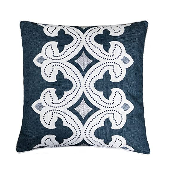 Homey Cozy Applique Throw Pillow Cover,Navy Series Modern Line Decorative Square Couch Cushion Pillow Case 20 x 20 Inch, Cover Only - Top quality and stylish throw pillow | This beautiful cotton oversized pillow adds elegance to any living space.There are noble,elegant,retro,classic,stylish pattern,the woven thread stand out against the eggshell fabric background. Hidden zipper for easy removal | At the end of the cushion cover there is a smooth hidden zipper that allows easy insertion or removal.Careful select top brand zipper with high-end quality for stronger and more durable everlasting for your bedroom or living room decoration. Durable polyester fabric | Durable 100% polyester pillowcases,the fabric is thick,high quality,soft,breathable environmental protection.Well contexture fabric is skin-friend,comfort and soft. - living-room-soft-furnishings, living-room, decorative-pillows - 61ieNSz2TmL. SS570  -