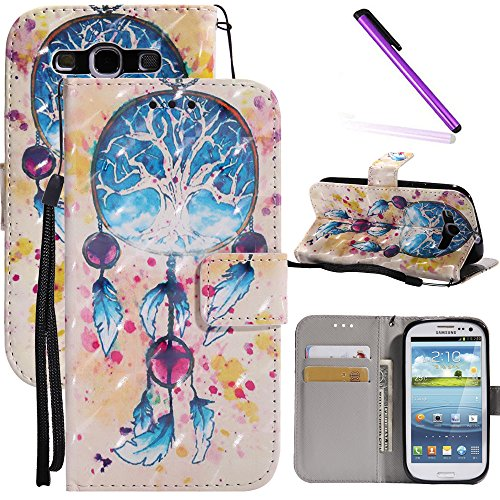 Galaxy S3 Case LEECOCO 3D Printing Wallet Case with Card Cash Holder Slots Wrist Strap [Kickstand] Premium PU Leather Folio Flip Slim Case Cover for Samsung Galaxy S3 I9300 3D Blue Campanula KT
