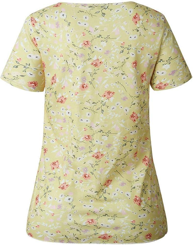 Rcool Camiseta Camisetas Tops y Blusas Camisetas Mujer Manga Corta Camisetas Deporte Mujer Camisetas Mujer, Camiseta de Manga Corta con Cuello Redondo y Estampado Floral: Amazon.es: Ropa y accesorios