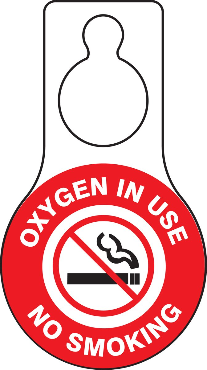 "Accuform TAD631 Plastic Shaped Door Hanger Tags, Legend""Oxygen in USE NO Smoking"" with Graphic, 9"" Length x 5"" Width x 0.015"" Thickness, Red/Black on White (Pack of 10)"