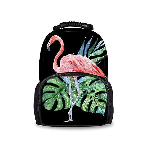 456f486633bf JACINTAN Flamingo Palm Beach Printed Children School Bags Blue Kids Big  Backpack