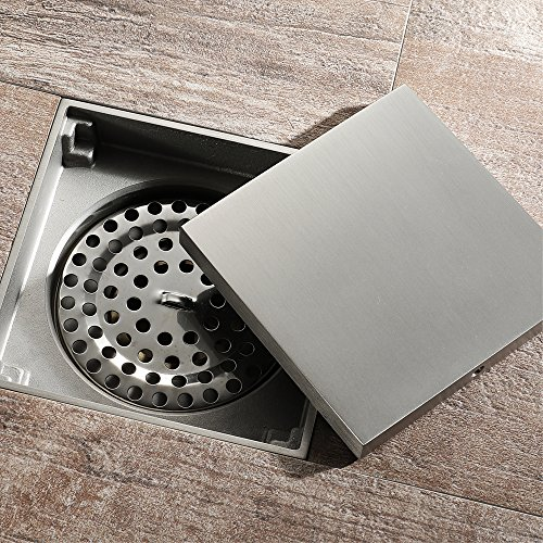 Tile Insert Square Shower Floor Drain 4-Inch Pure Cupper Brushed Grate Strainer With Removable Cover Anti-Clogging, High-Grade Floor Drain by YJZ (Image #1)
