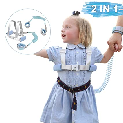 Anti Lost Wrist Belt 2M Child Walking Strap Baby Reins Safety Strap Leash Wristband Hand Belt Toddler Child Kids Travel Cares Safety 360/°Rotate Elastic Wire Rope Fluorescent and Security Lock Purple