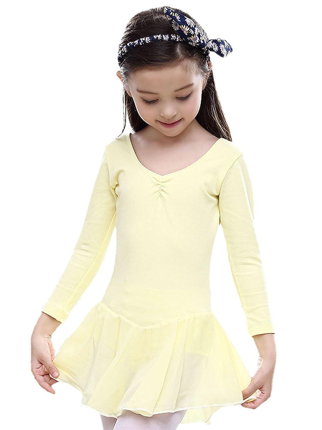 lllzff FEOYA Girls Dance Ballet Leotard Cotton Blend Long Sleeve Dancing Dress