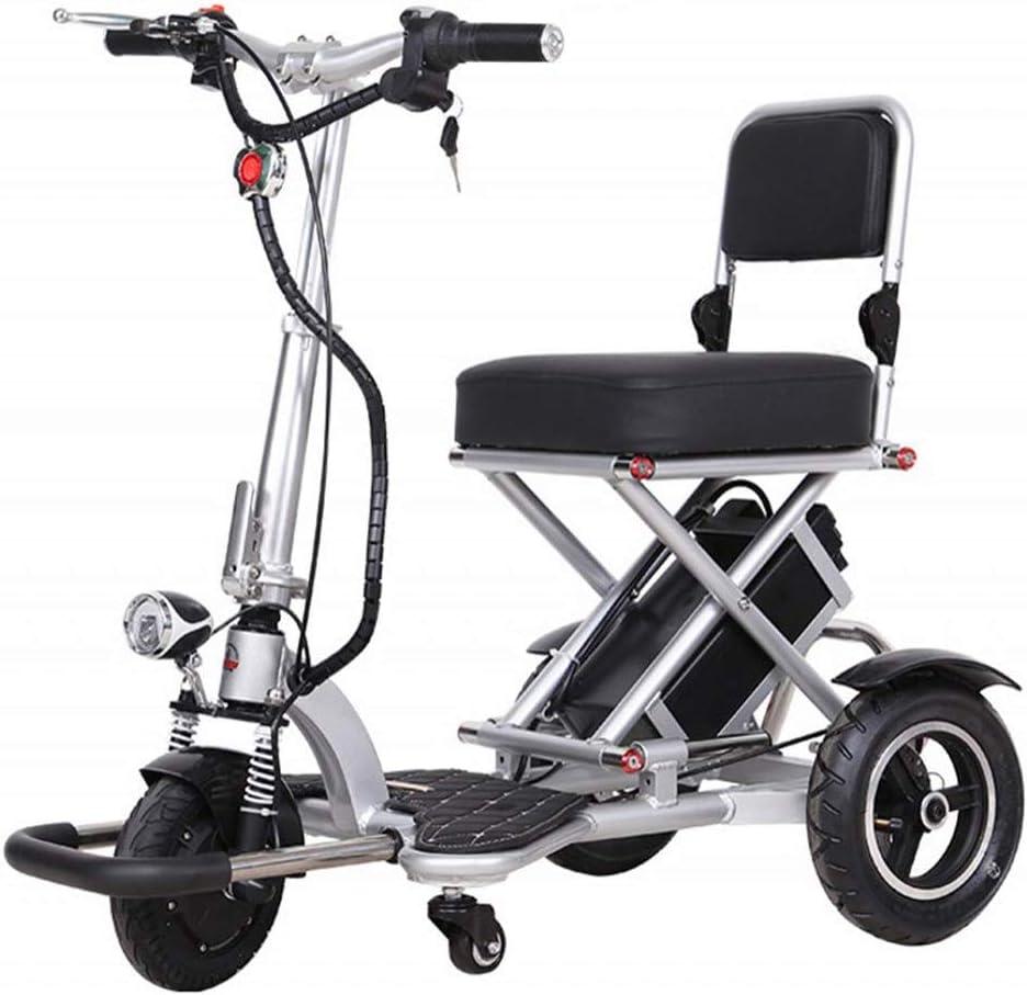 XYDDC Triciclo Plegable eléctrico, Espacio de Almacenamiento Ligero y Grande para los Ancianos/discapacitados Scooter eléctrico de Seguridad Anti-colisión y Anti-vuelco, 15-20 Km Unisex