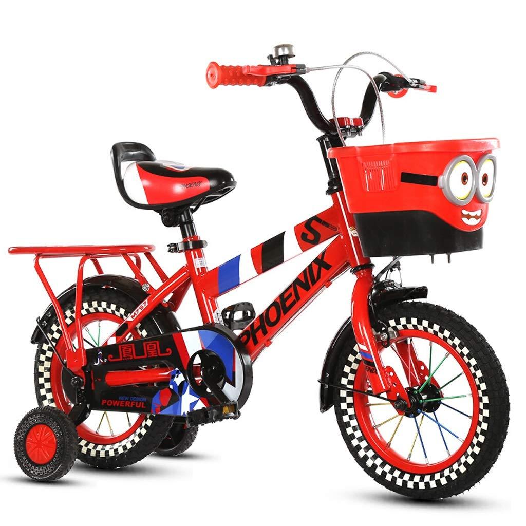 子供用自転車、マウンテンバイク、少年少女ペダル三輪車、4-8歳、16インチキッズバイク高炭素鋼フレーム (色 : Red)  Red B07JC8ZPDZ