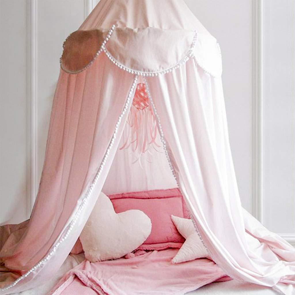 Princesa de Dosel de la Cama Altura 240cm Mosquitera Para Cuna Ni/ña para Beb/é Interior Exterior Jugar Lectura Kids Dome Mosquitero de Algod/ón Blanco