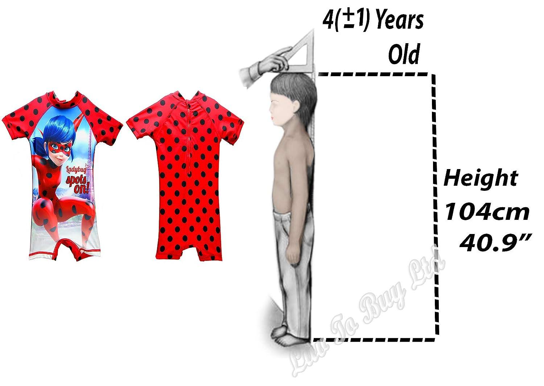 Ladybug Girls Swimwear Swimwear,Kids Swimsuit,UV Protect,Official Licensed,4 Sizes 4-5-6-8Yrs Red/&Pink